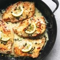 overhead lemon chicken piccata in skillet