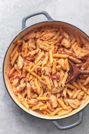 penne pasta in skillet