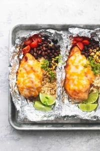 overhead chicken foil packets on tray