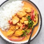 thai curry overhead in bowl with rice and fork
