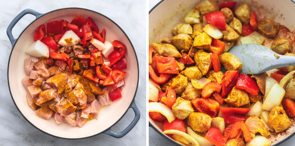 side by side images of chicken and bell peppers with seasonings in a skillet.