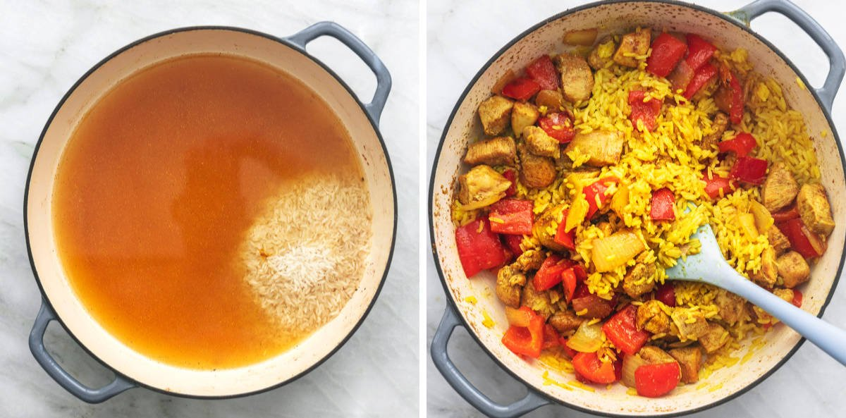 side by side images of rice uncooked, then cooked with chicken and peppers, in a skillet.