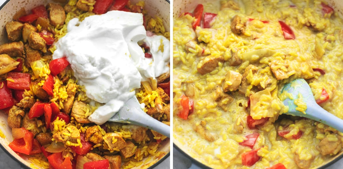 side by side images of coconut cream being added to chicken and rice in a skillet and curry chicken and rice in a skillet.