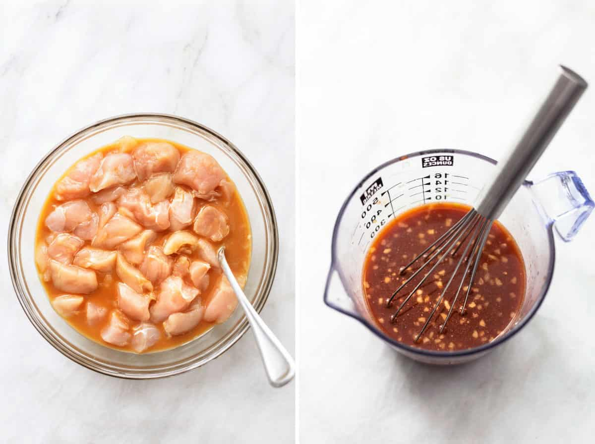 side by side images of chicken in marinade and sauce in a liquid measuring cup.