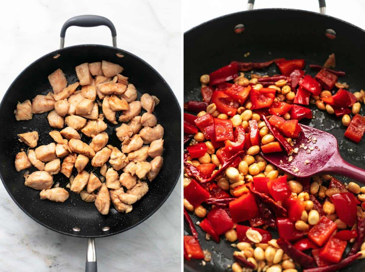 side by side images of sautéed chicken in skillet and peppers with peanuts in skillet.