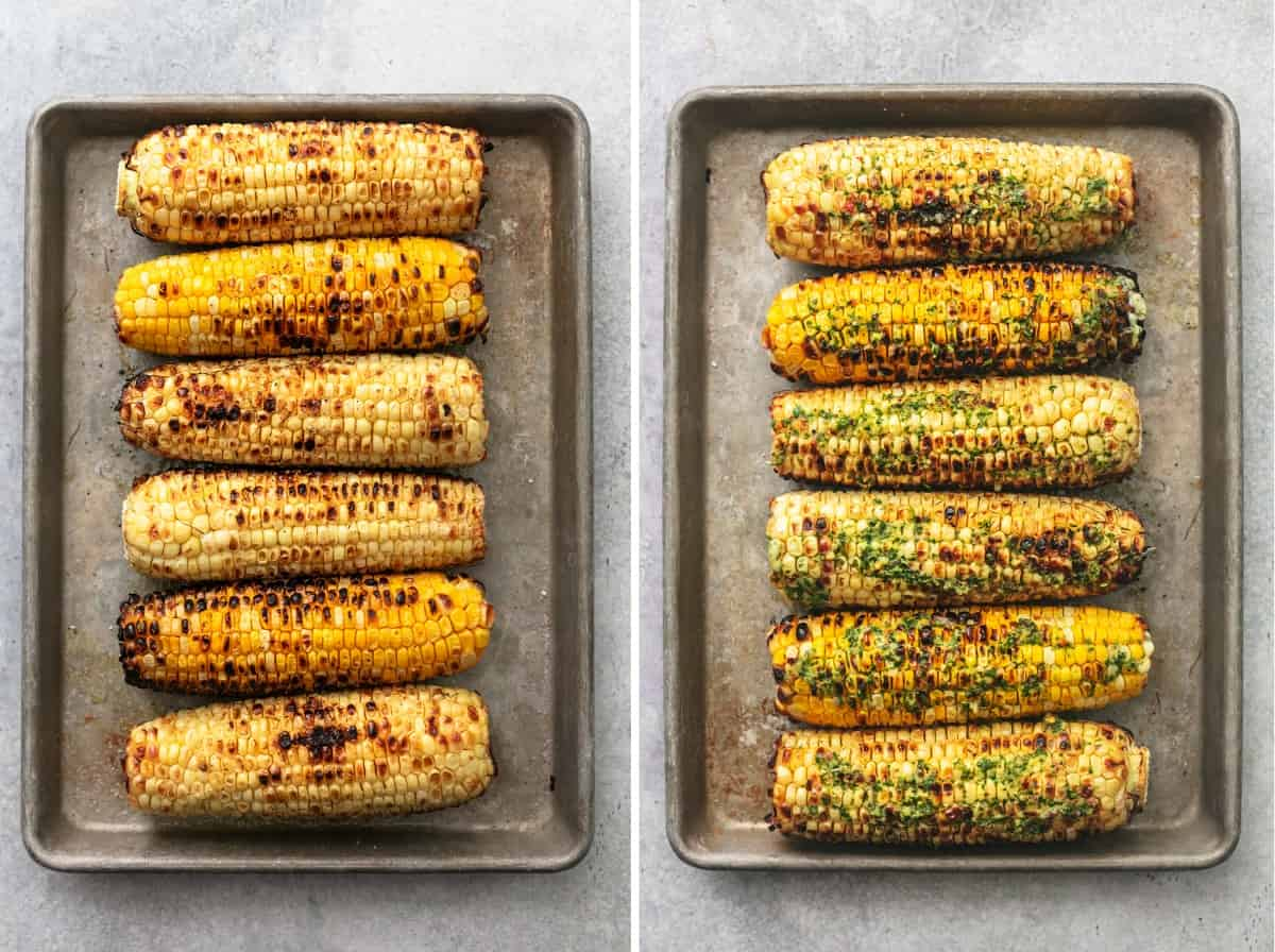 side by side overhead views of grilled corn before and after topping with butter