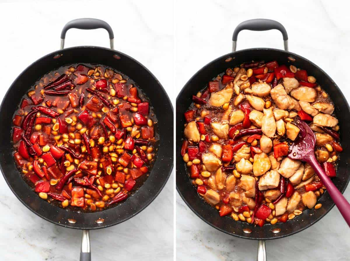 side by side chicken and pepper and peanuts with sauce in skillet