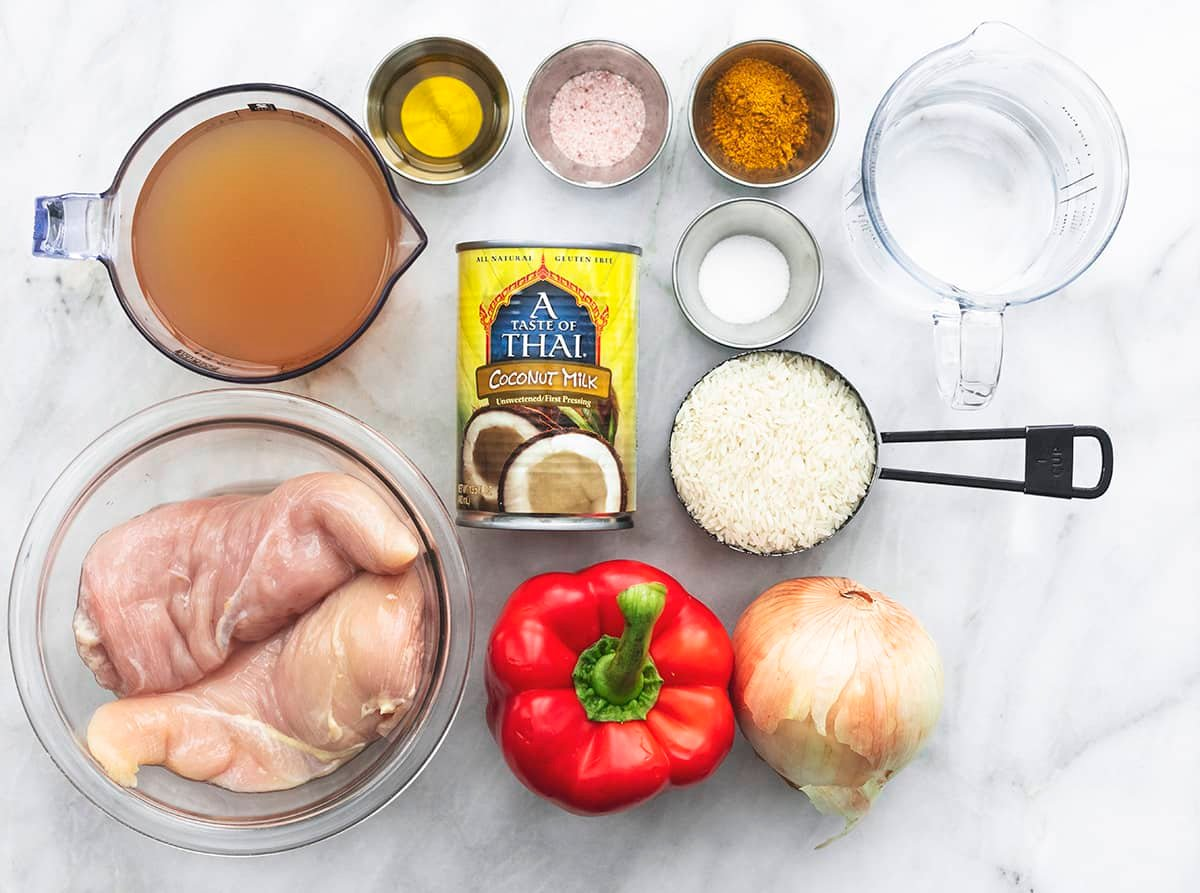 view of ingredients for curry chicken and rice