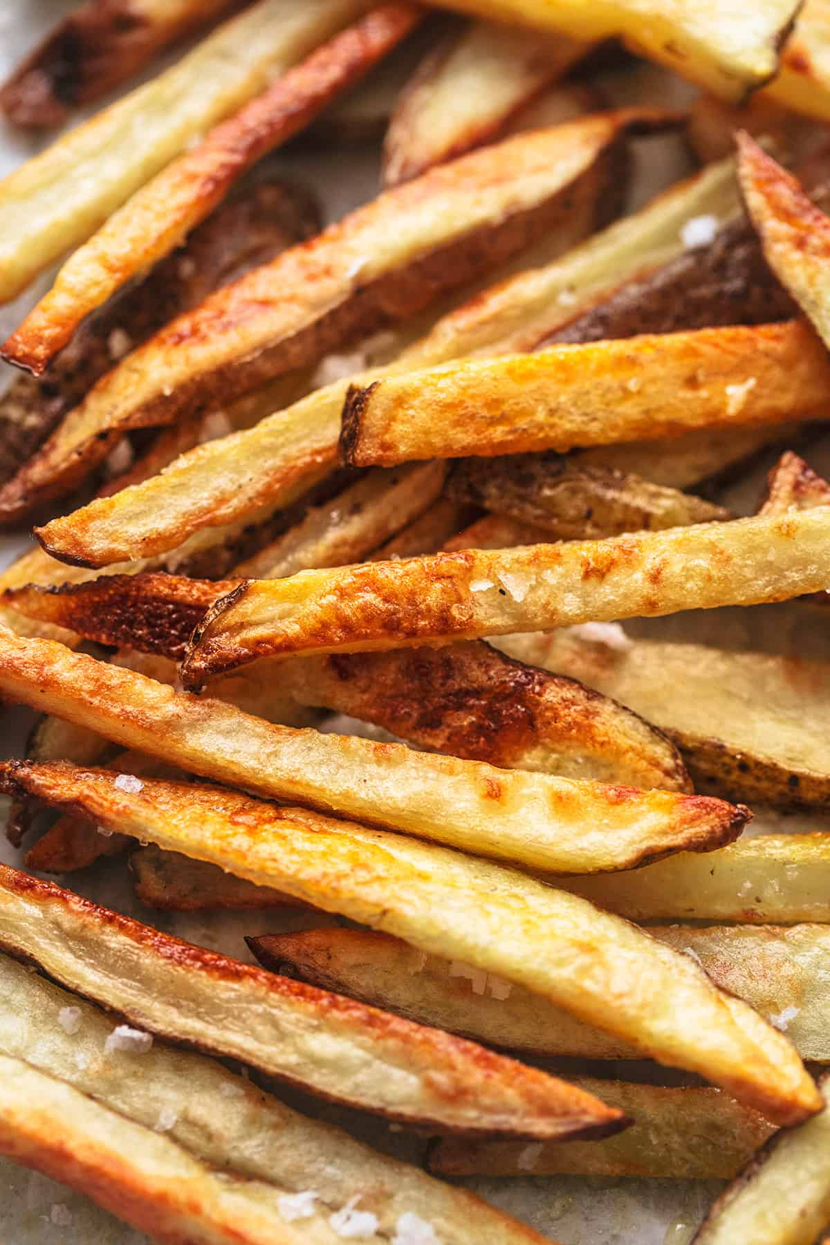 up close baked french fries with salt