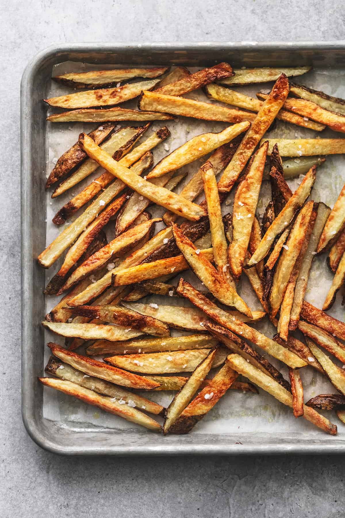overhead french fries on sheet pan