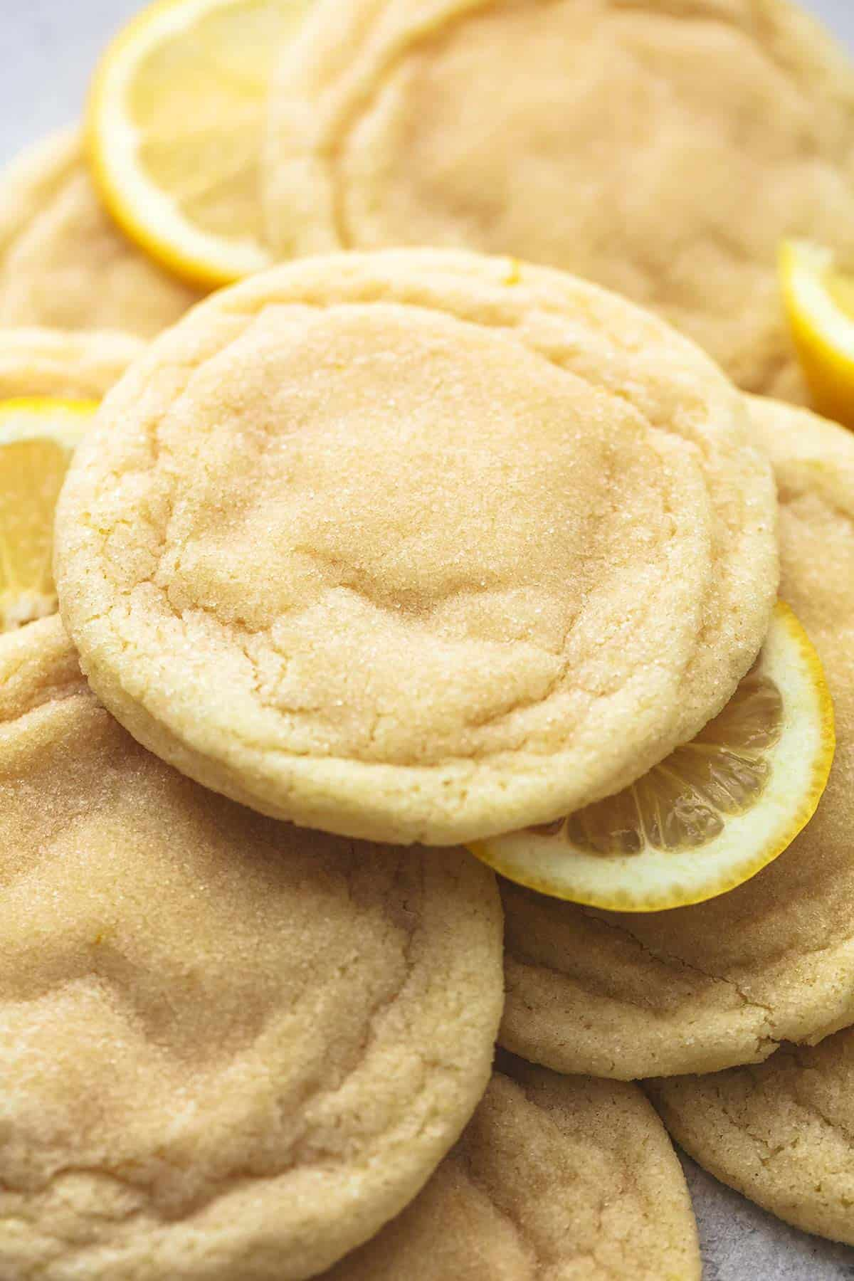 up close lemon sugar cookies with lemon slices