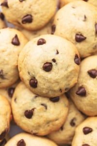 overhead pile of golden cookies with chocolate morsels
