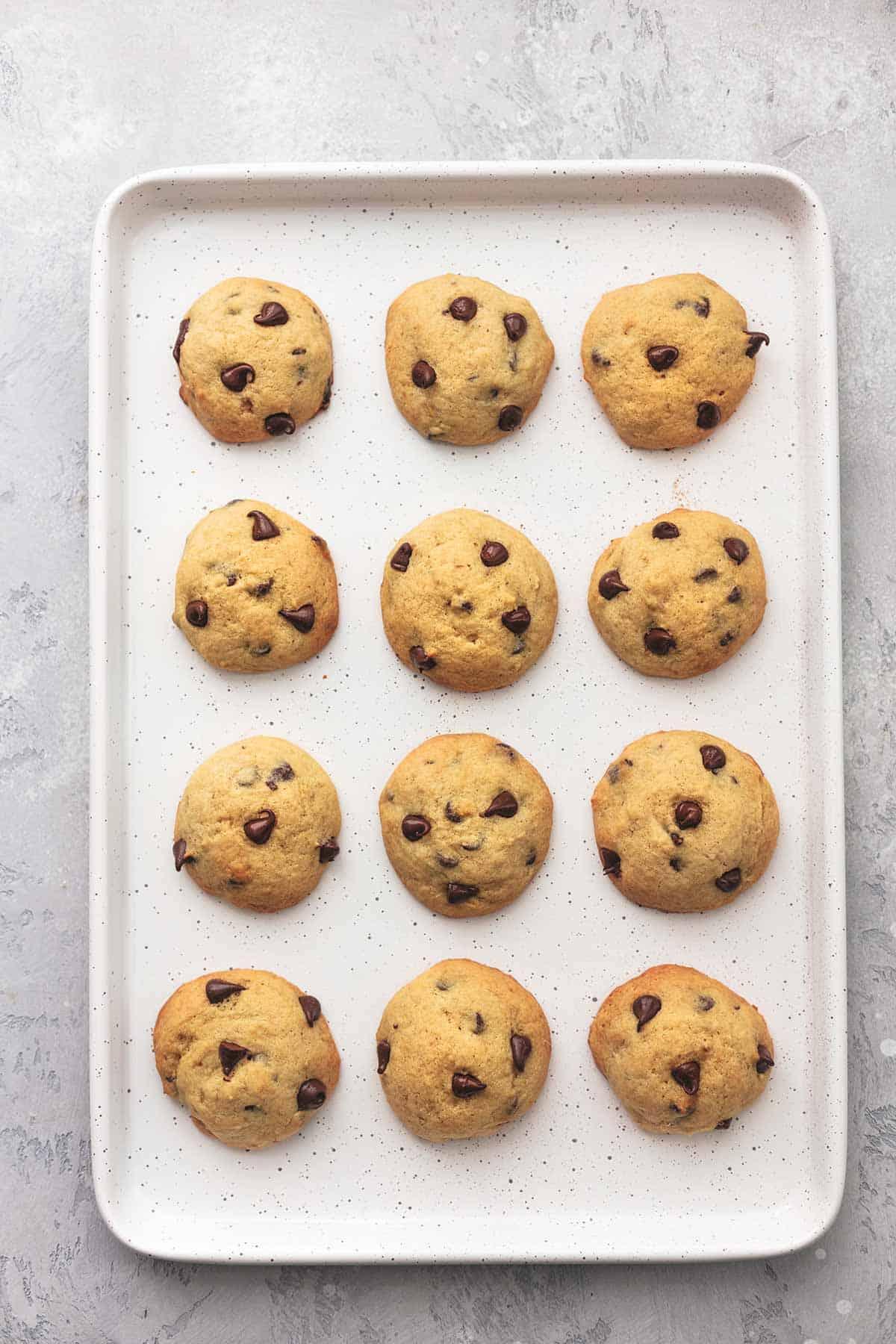 overhead sheet pan with twelve cookies