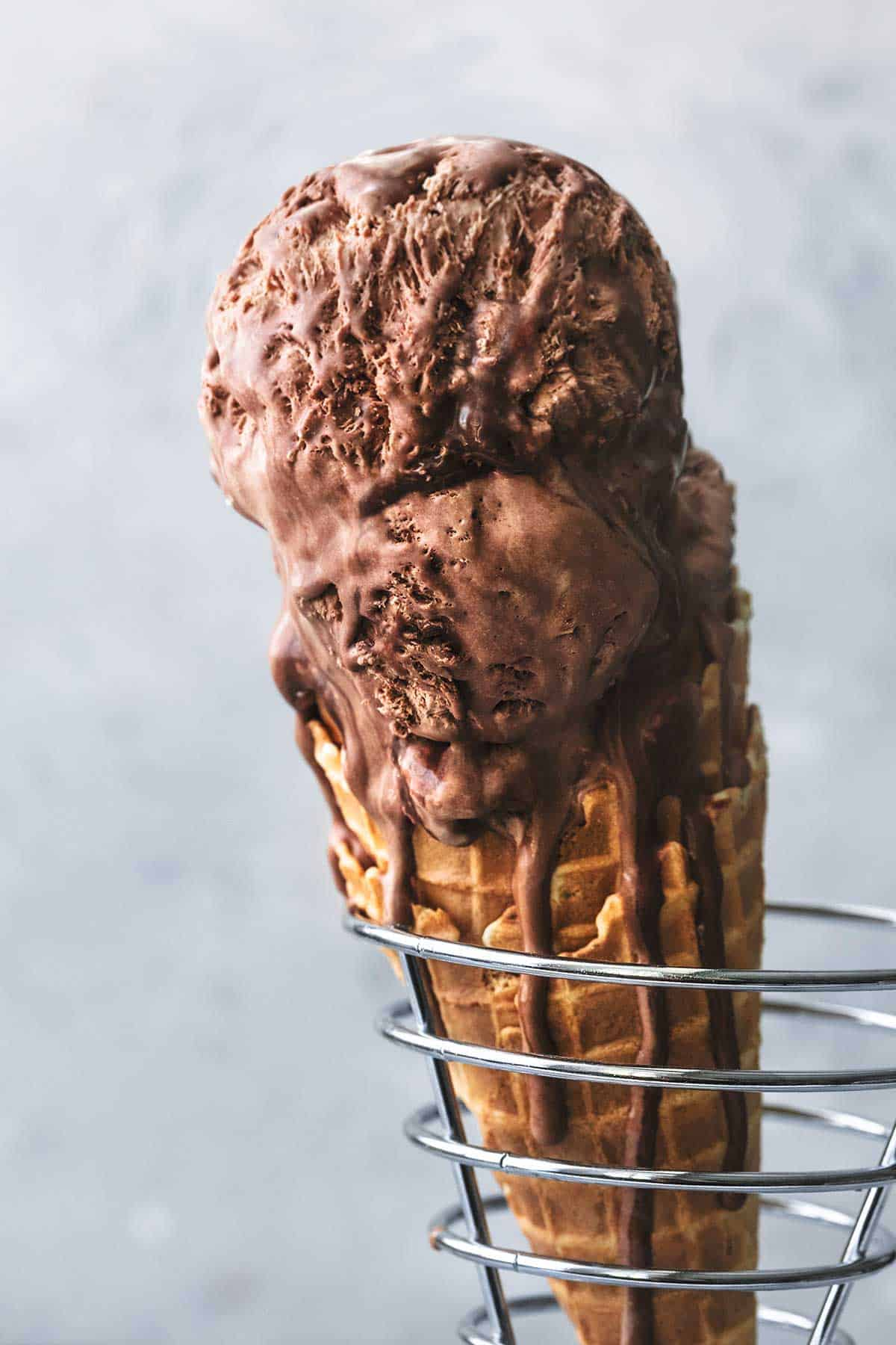 double scoop of chocolate ice cream in waffle cone
