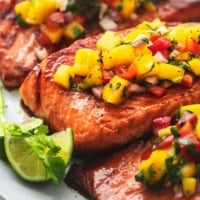 up close mango salsa on to top salmon