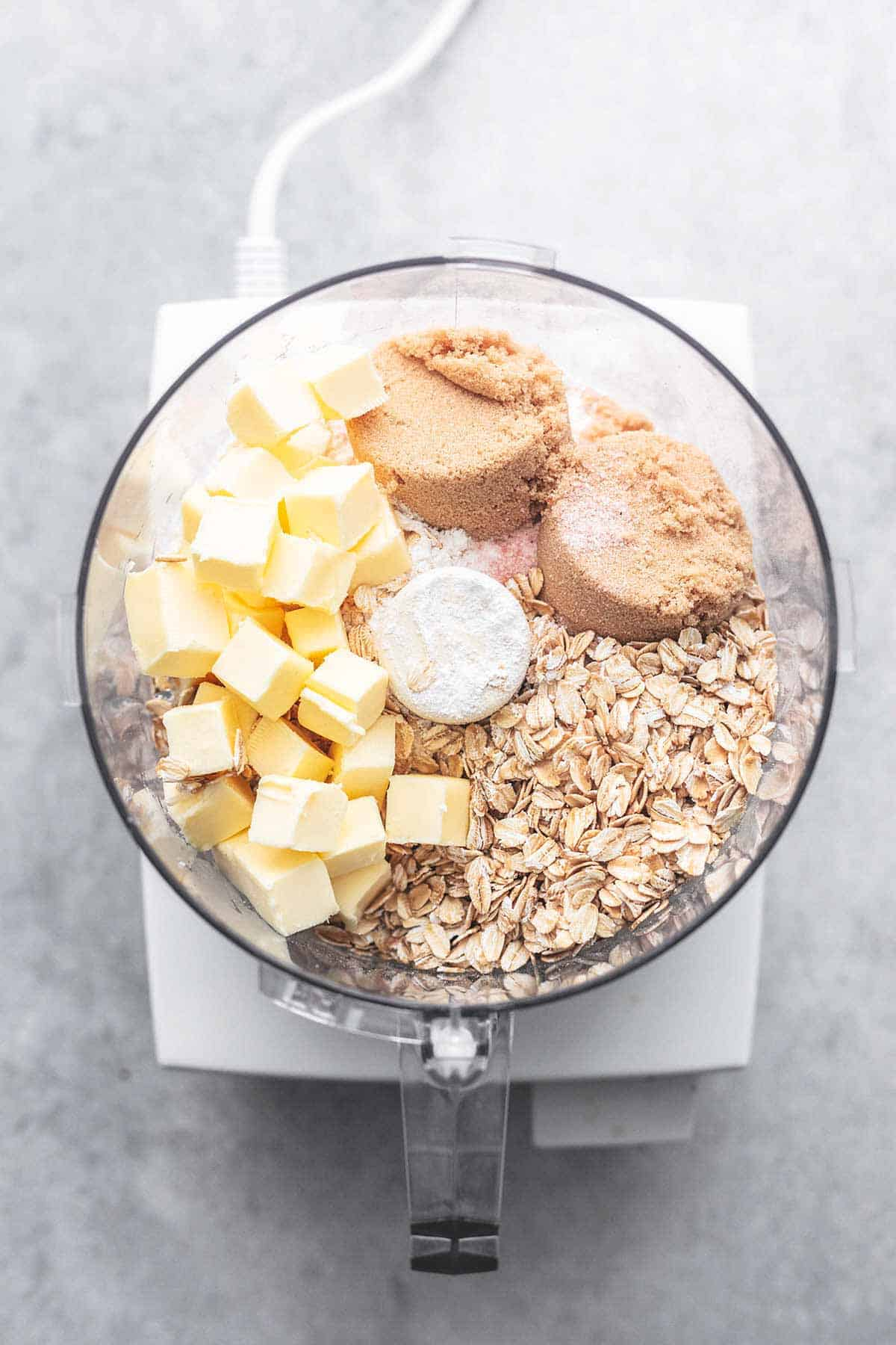 ingredients for crumb topping in food processor