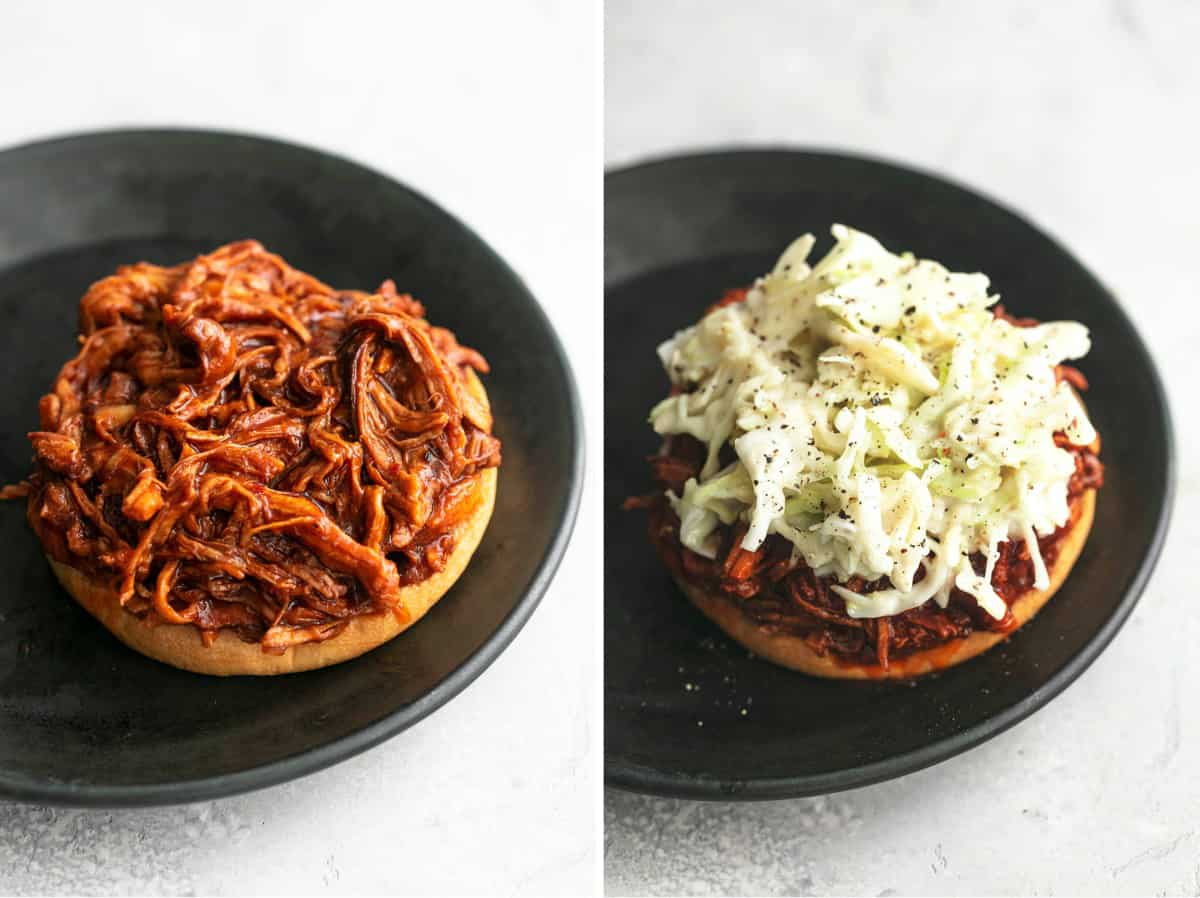 two images side by side showing sandwich bun with pulled pork and then added cole slaw