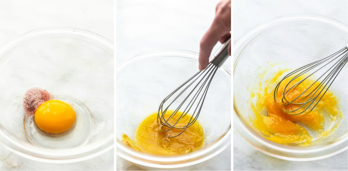 three stages of whisking egg yolks until thickened