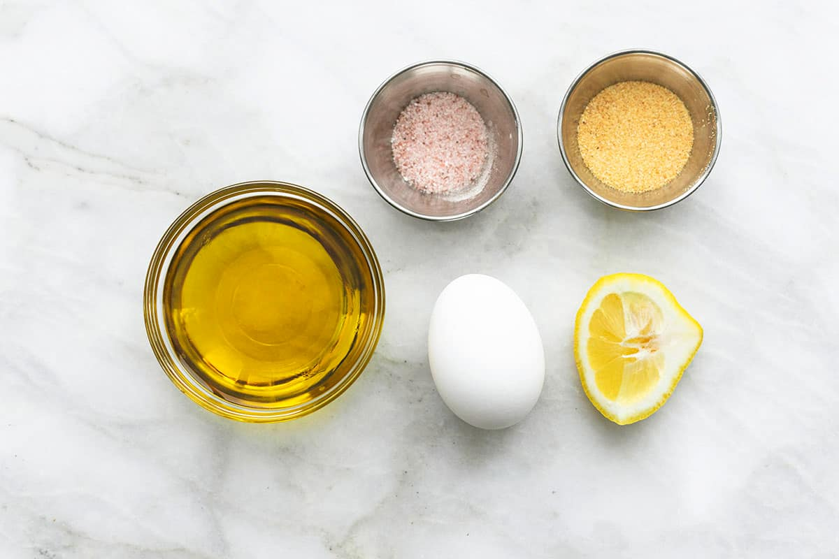 overhead image of ingredients for garlic aioli