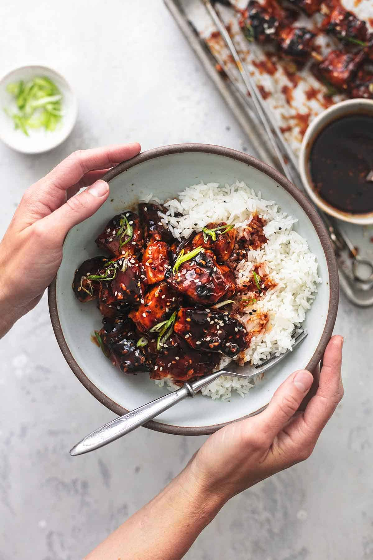 overhead hands holding bowl of rice and chicken with dark red sauce
