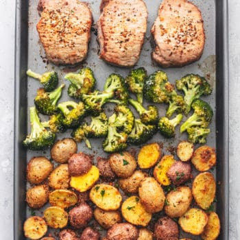 overhead view of sheet pan meal with pork chops, broccoli, and potatoes