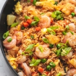up close shrimp and pineapple fried rice