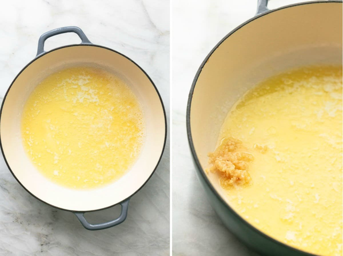 side by side images of lemon butter sauce in process steps