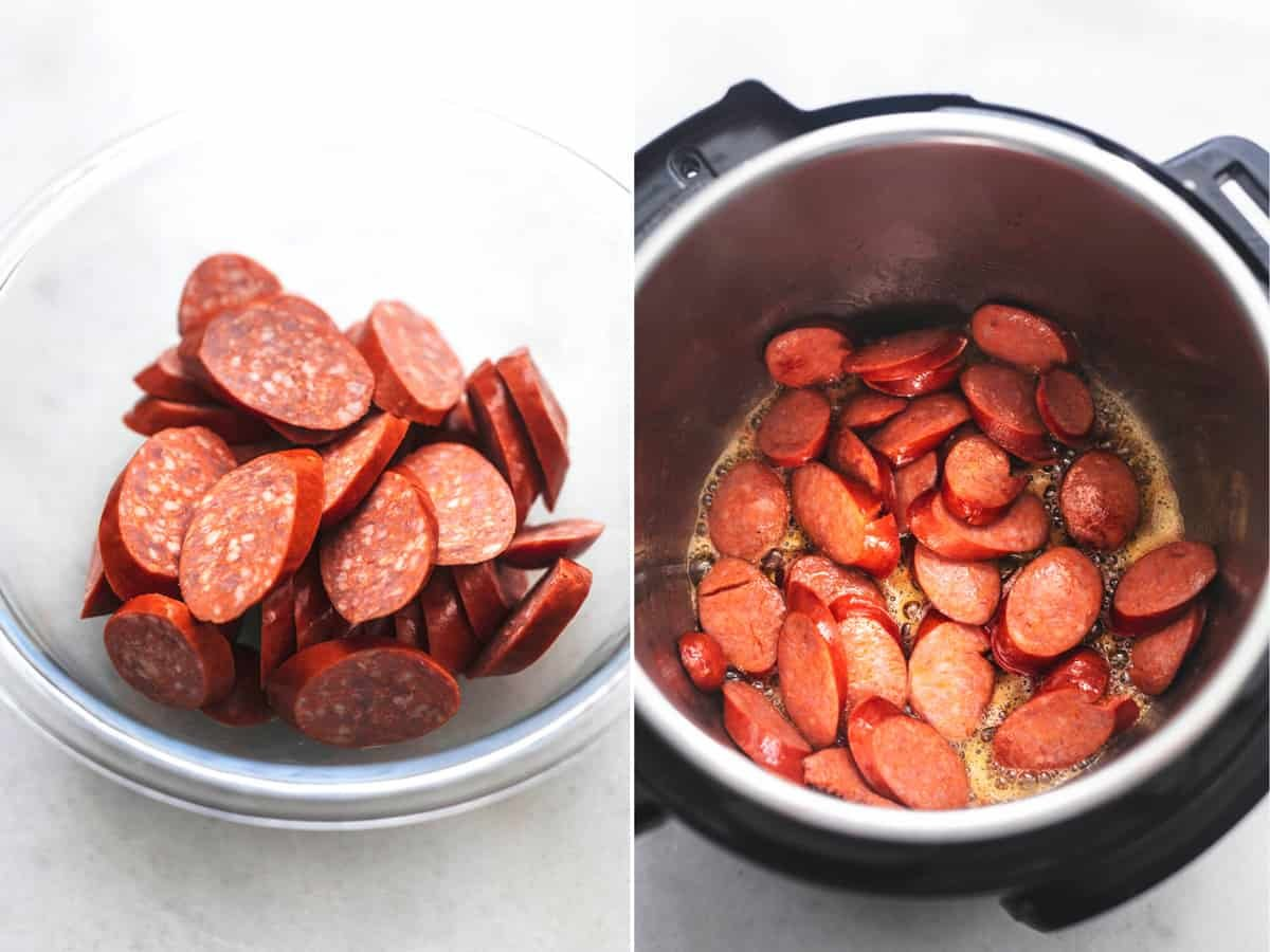side by side images of uncooked sliced sausages in a glass bowl and cooked sliced sausages in an instant pot.