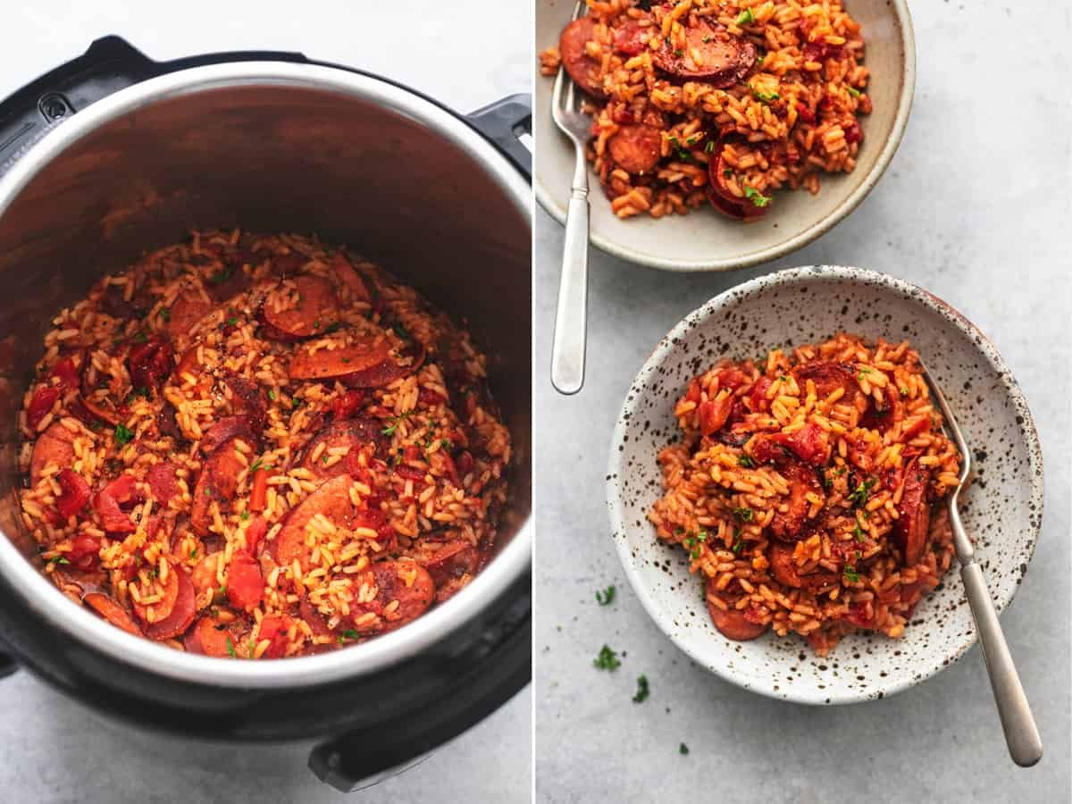 side by side images of Spanish sausage and rice in an instant pot and in bowls.