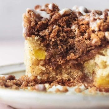 up close cinnamon coffee cake with streusel filling
