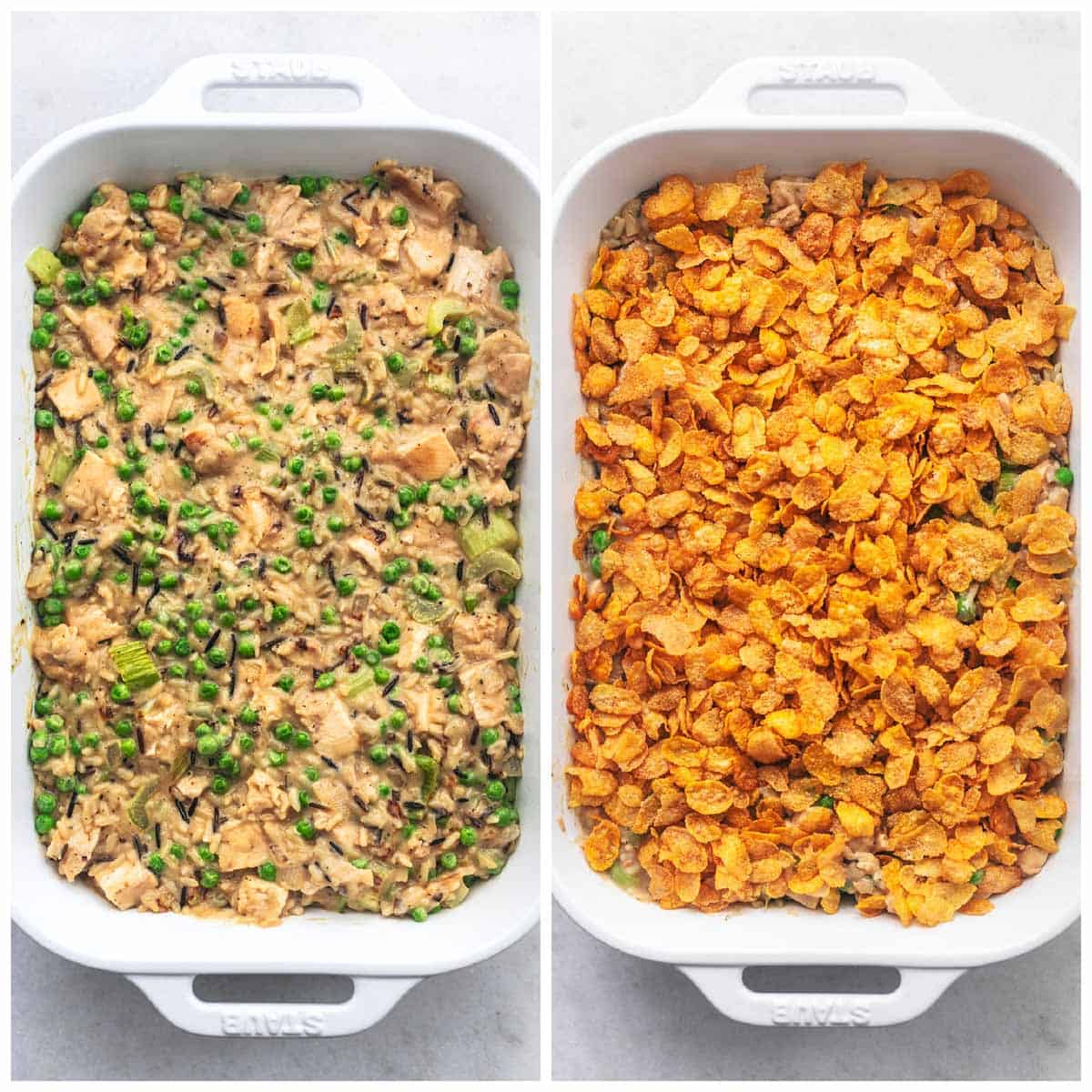 side by side overhead images of casserole preparation before baking