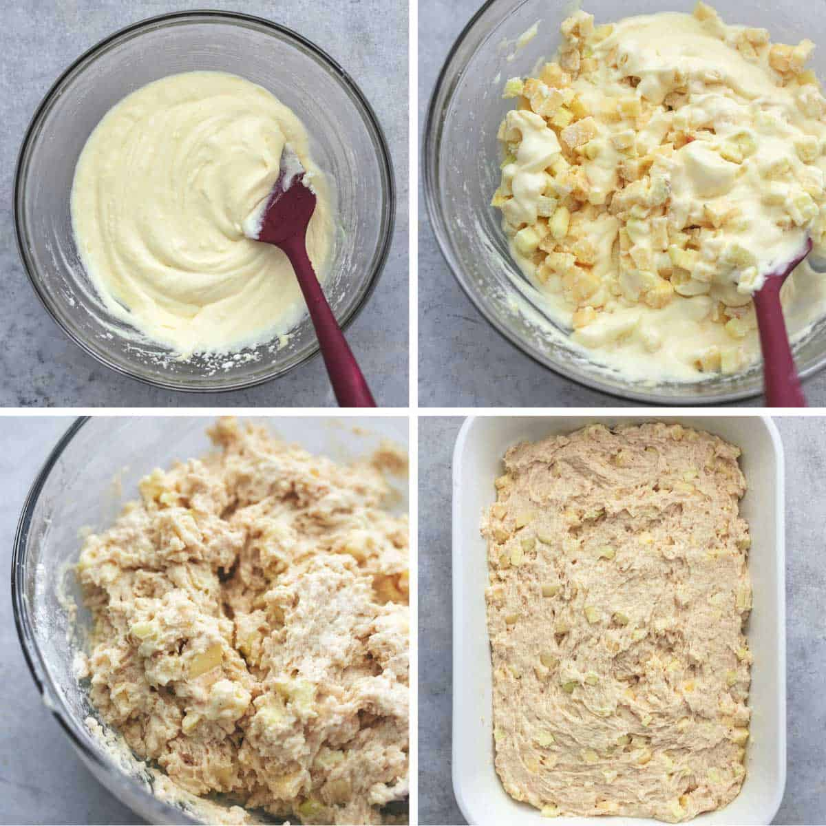 a collage of four images showing coffee cake batter being prepared