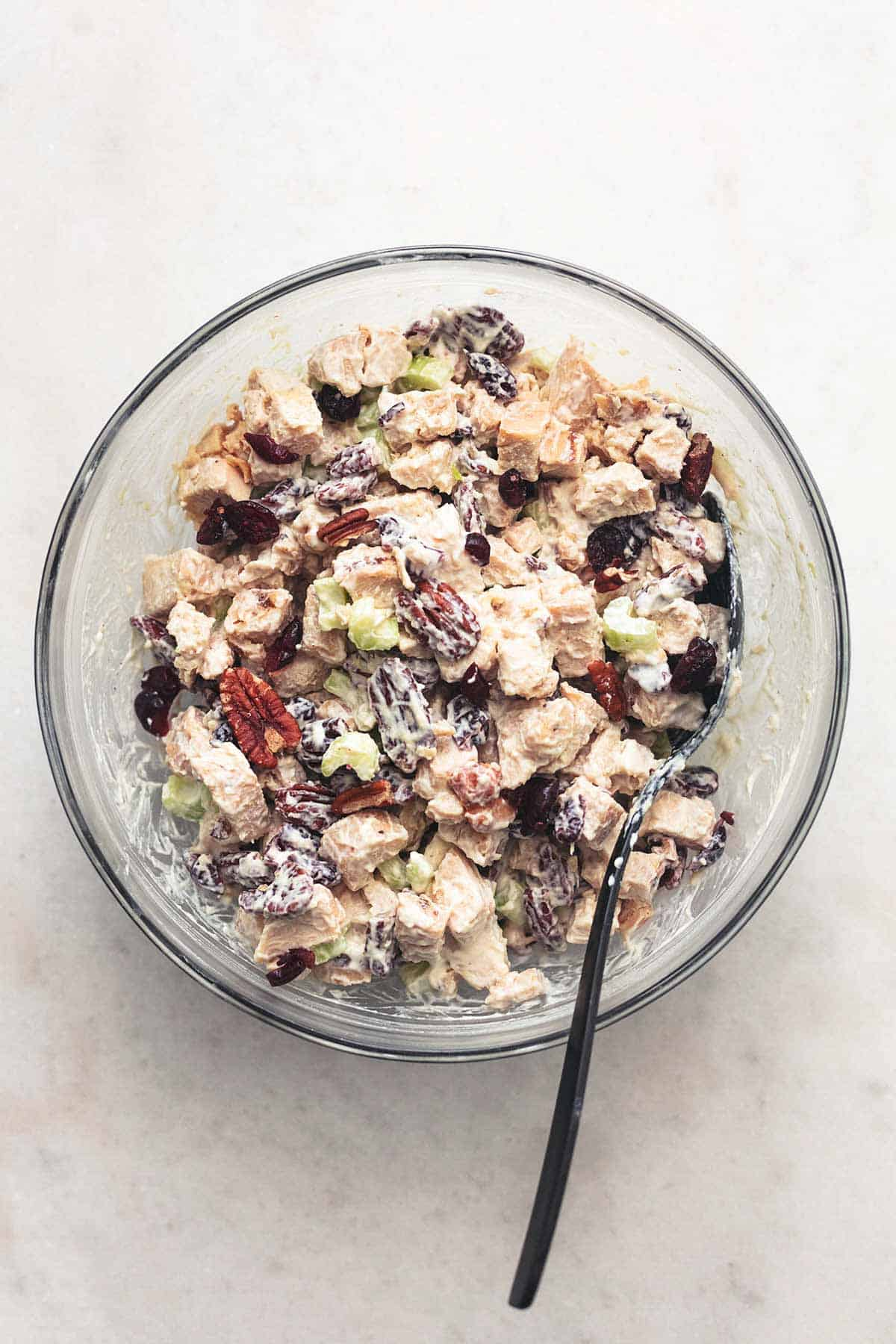 top view of cranberry pecan turkey salad in a bowl.