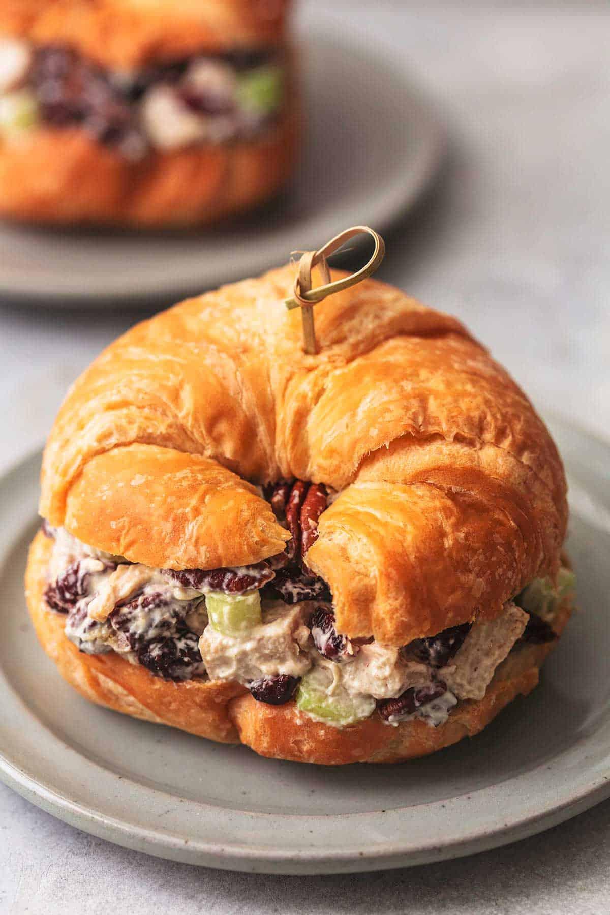 a cranberry pecan turkey salad croissant sandwich on a plate.