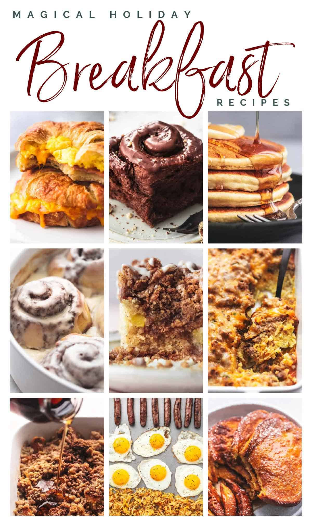 collage of nine images showing breakfast recipes