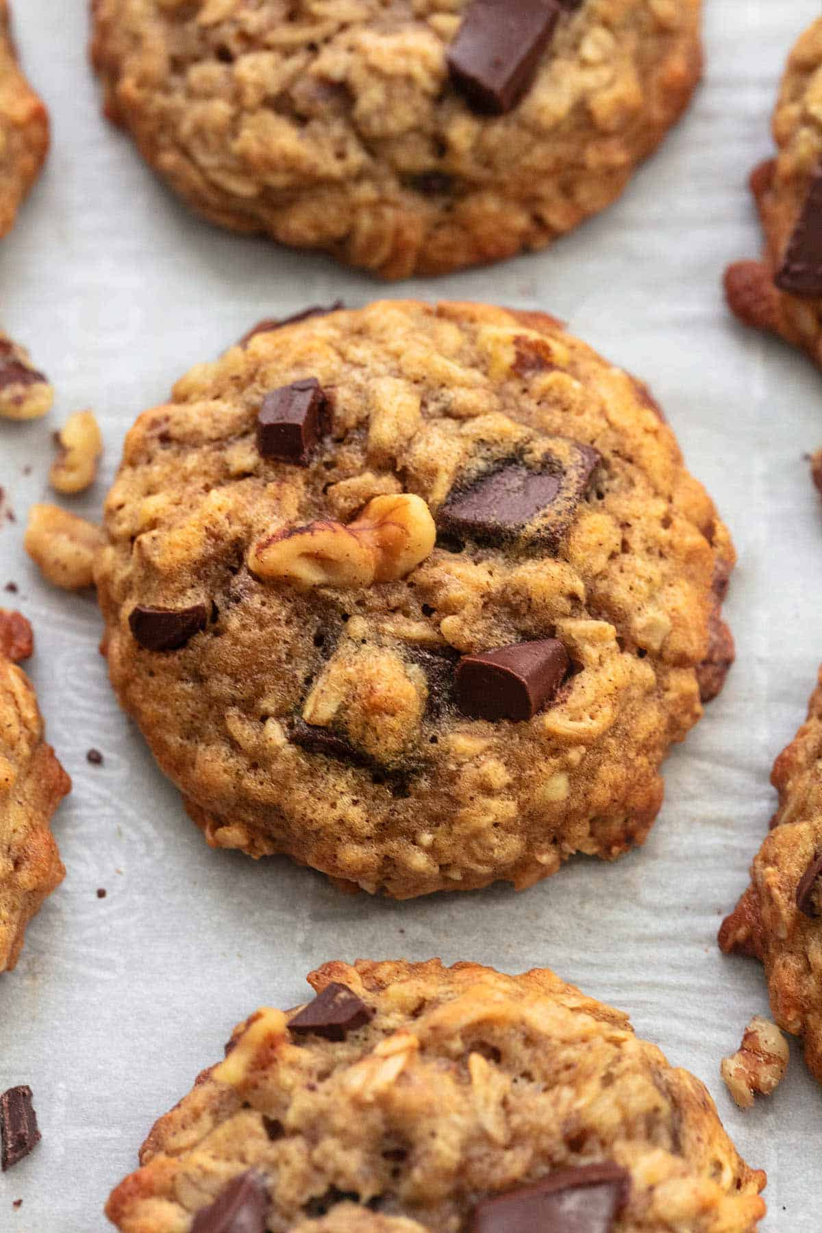 up close brown cookie with walnut pieces and chocolate chunks
