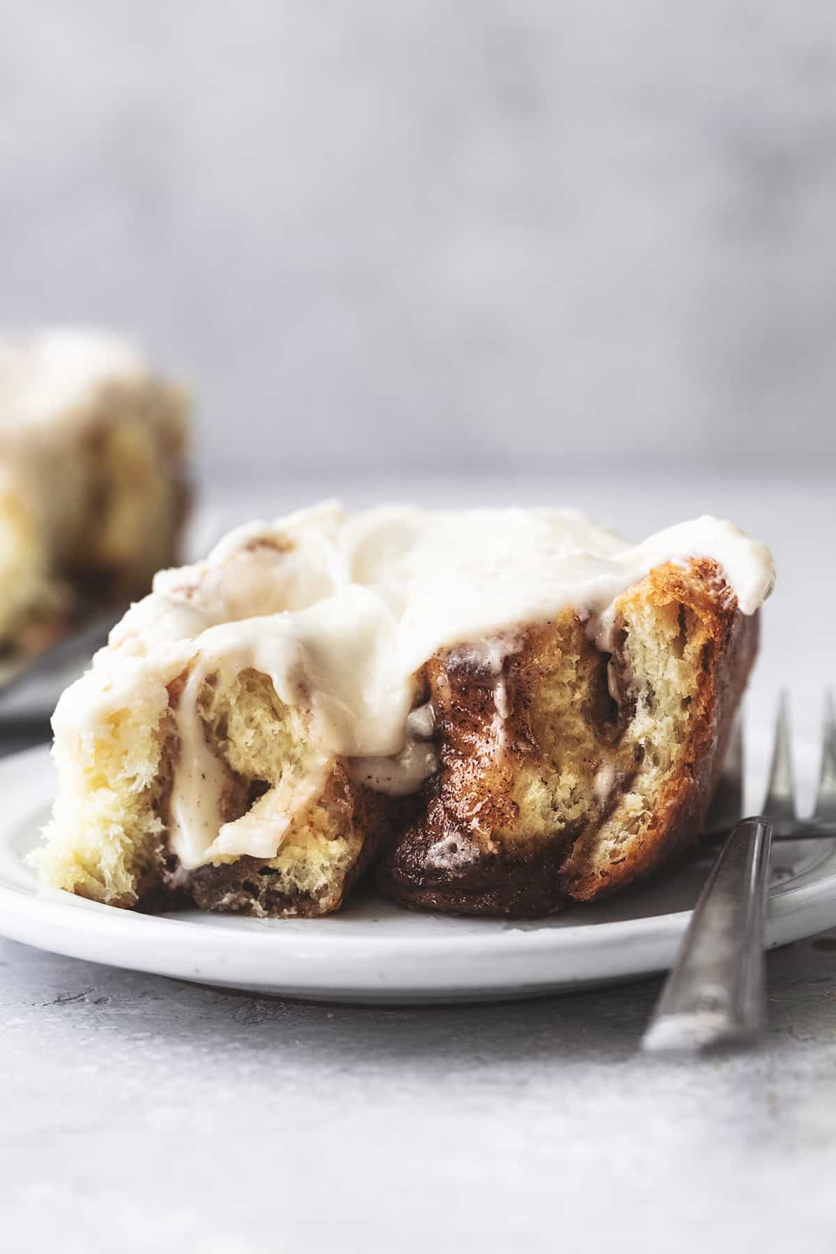 head-on view of half dissection of a cinnamon roll