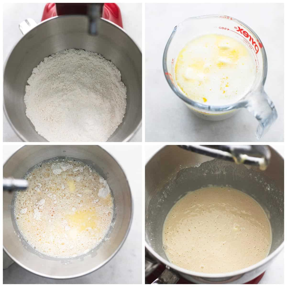 collage of four images showing steps of cinnamon roll making