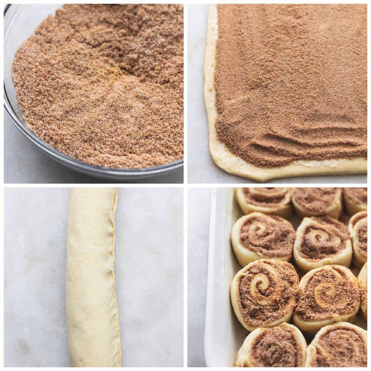 collage of four images showing step by steps for cinnamon rolls recipe