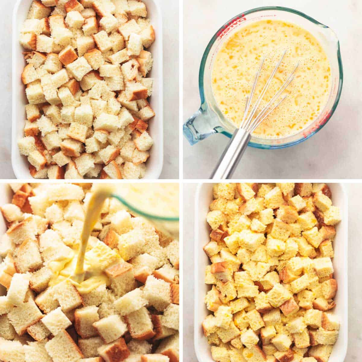 four images showing prep for french toast casserole