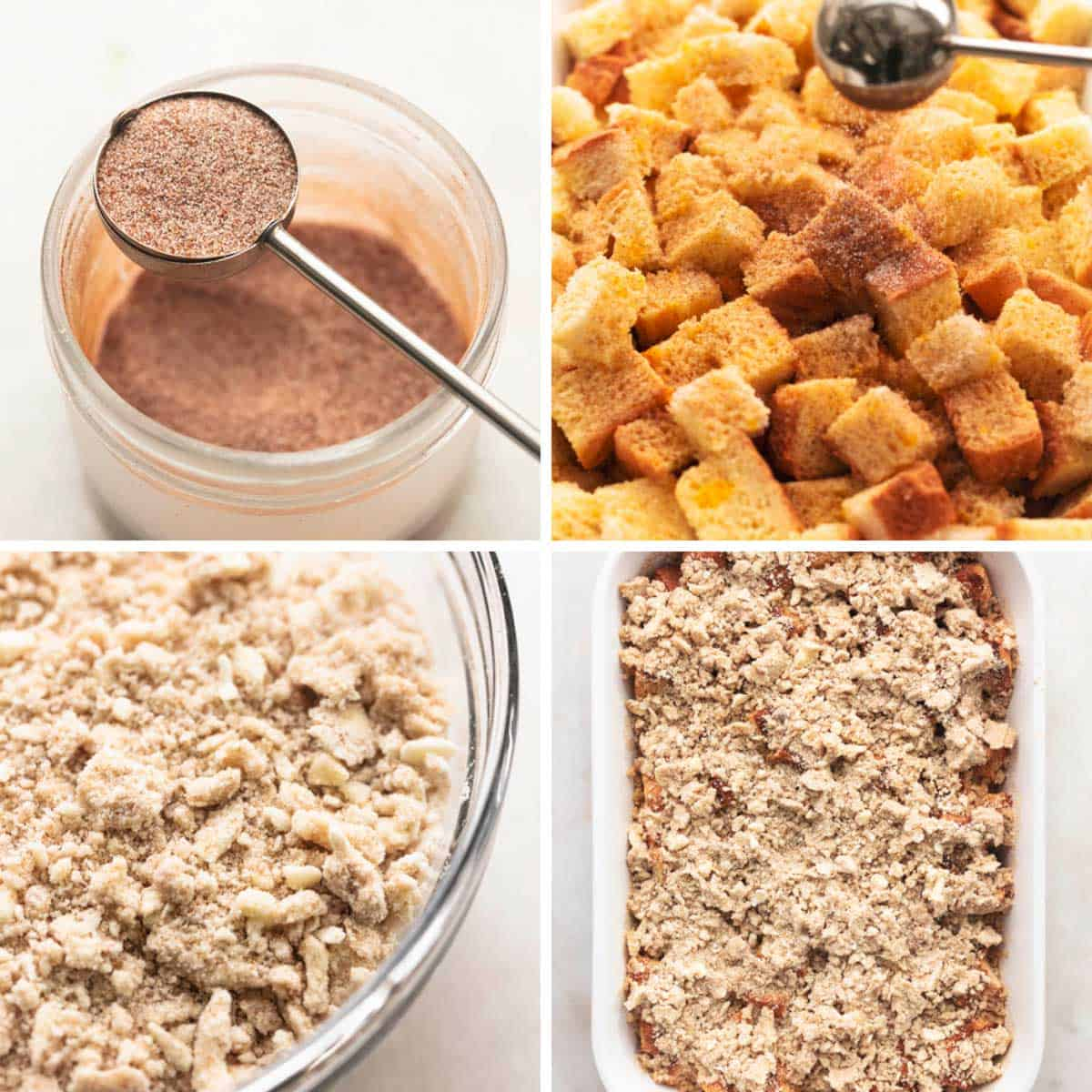 a collage of step by step images for french toast prep.