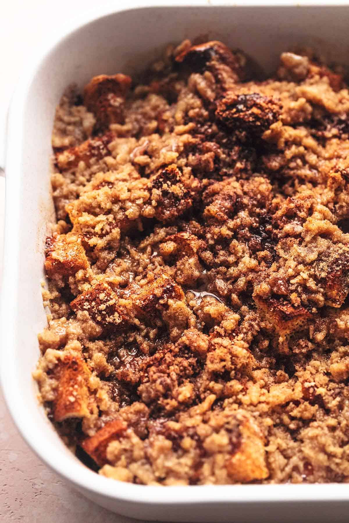 up close streusel in a white dish