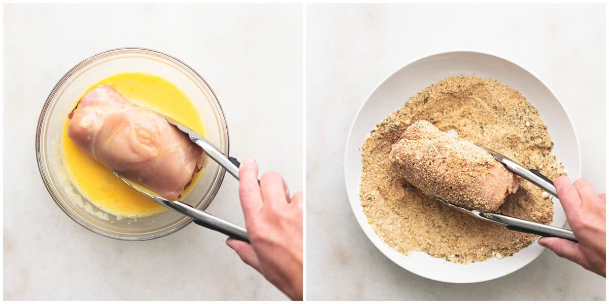 side by side images of hand dredging chicken in egg wash and rolling chicken in breadcrumbs