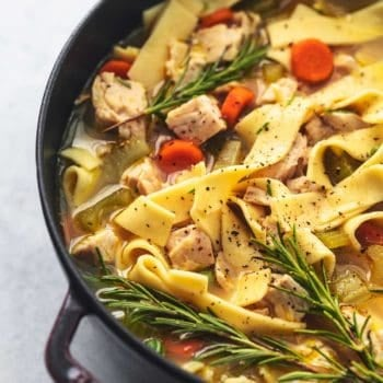 chicken and noodles in broth with vegetables in red stock pot