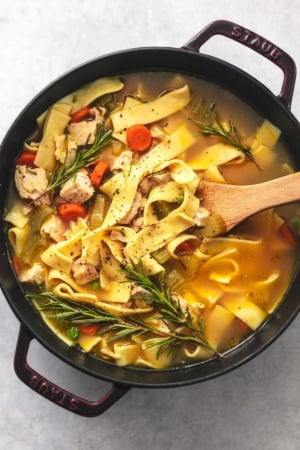 overhead view of serving spoon in pot of noodles with broth and chicken