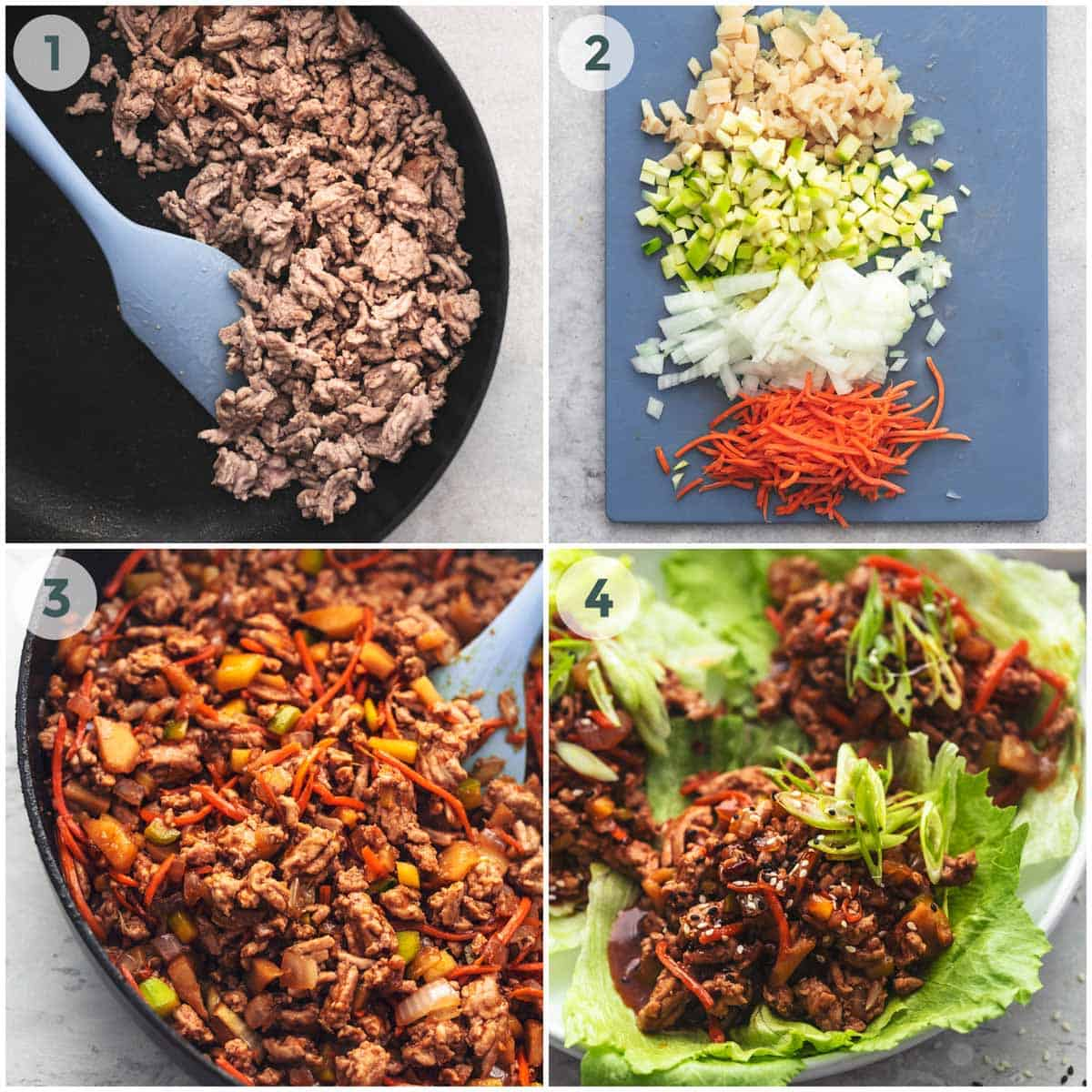 collage of four step by step images for pork lettuce wraps
