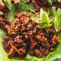 up close view of ground pork lettuce wrap