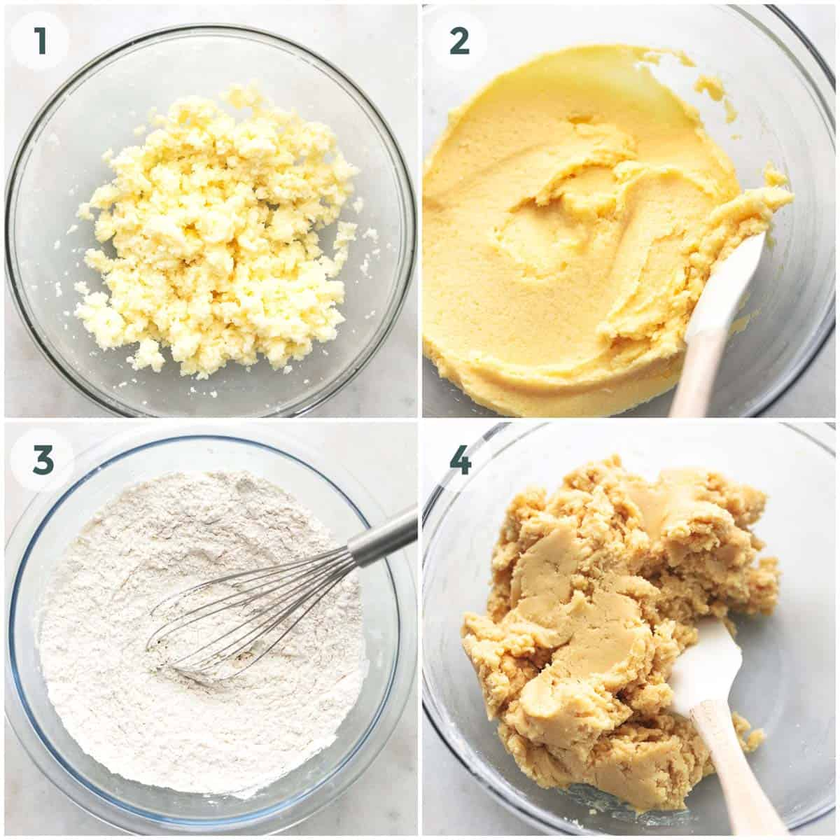 collage showing preparation and mixing of dough for sugar cookie bars.