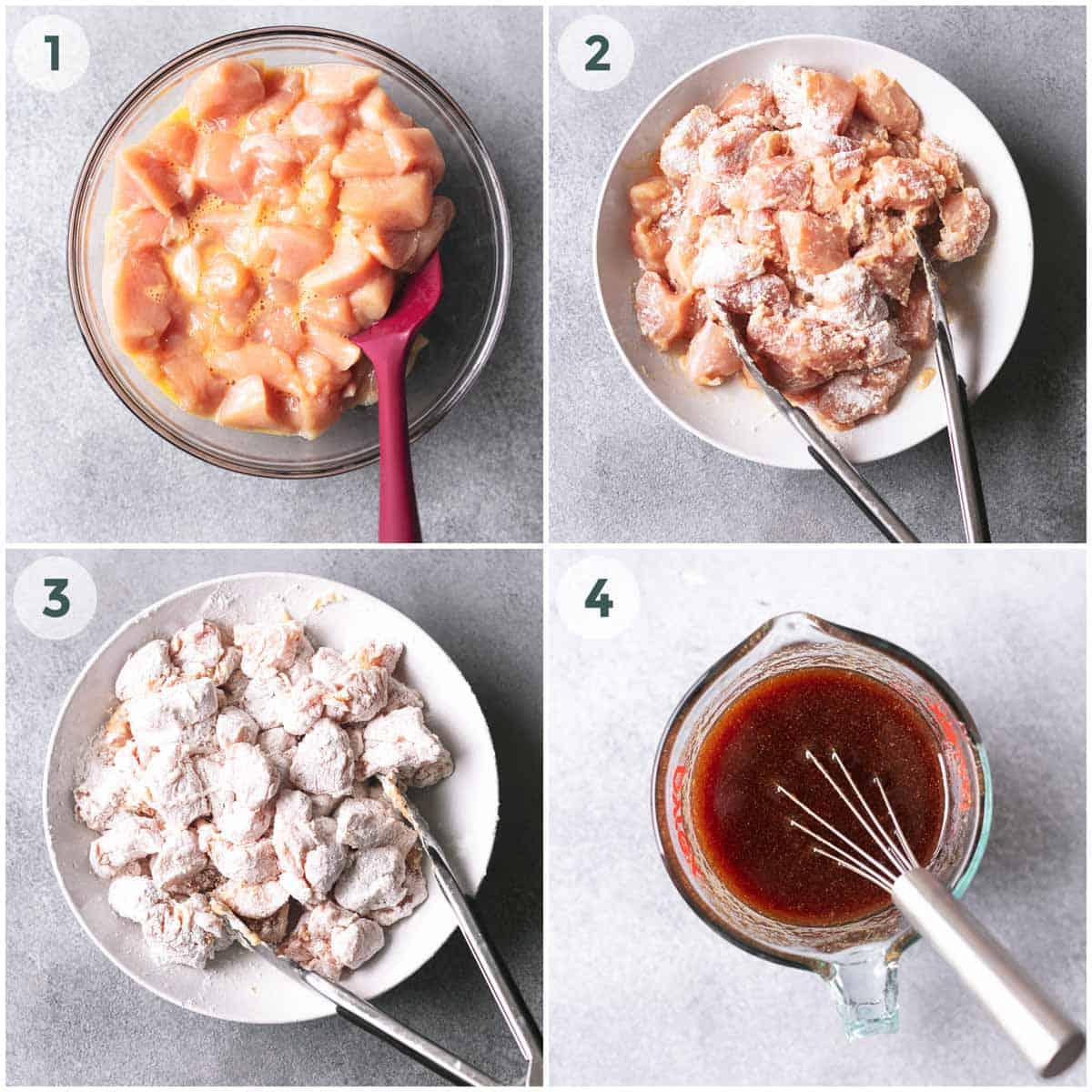 collage of four images showing chicken coating and sauce preparation