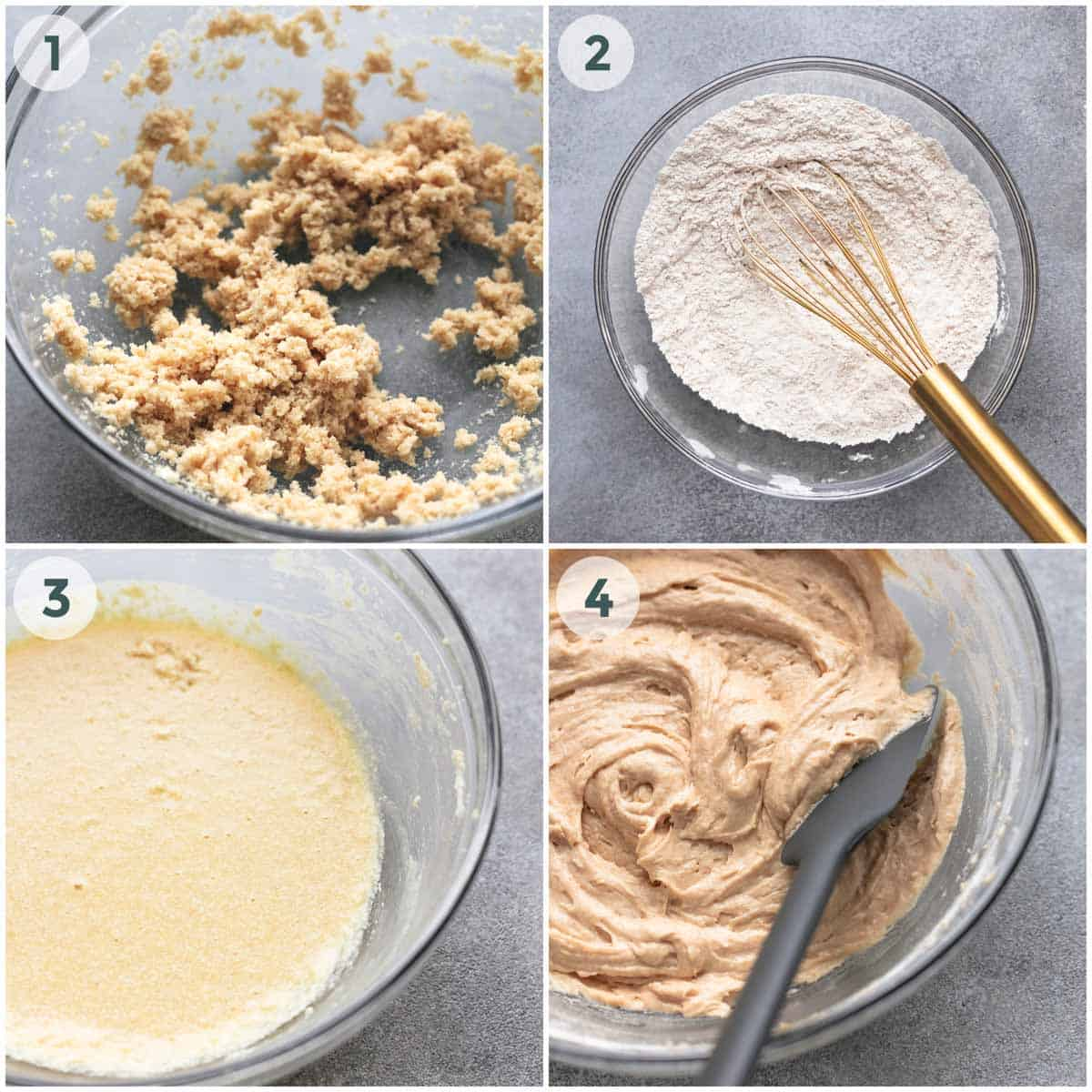 collage of four images of preparation of muffin batter